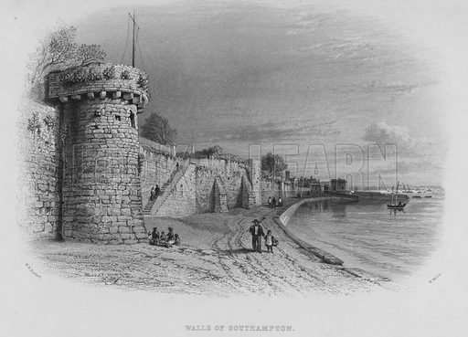 Walls of Southampton. Illustration for The New Illustrated History of England by Oscar Browning (Virtue, c 1880).