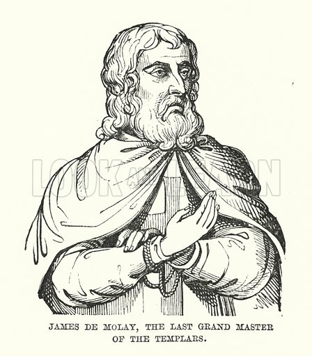 James De Molay, the Last Grand Master of the Templars. Illustration for The New Illustrated History of England by Oscar Browning (Virtue, c 1880).