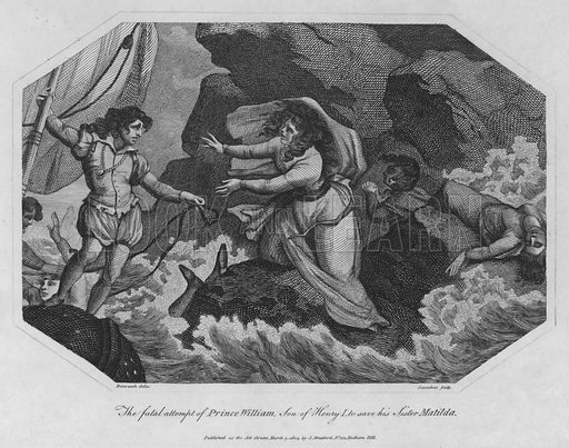 The fatal attempt of Prince William, Son of Henry I to save his Sister Matilda. Illustration for The History of England by George Courtney Lyttleton embellished with a regular series of beautiful engravings (J  Stratford, 1805).