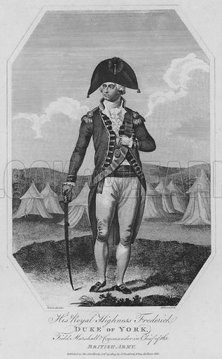His Royal Highness Frederick, Duke of York, Field Marshall and Commander in Chief of the British Army. Illustration for The History of England by George Courtney Lyttleton embellished with a regular series of beautiful engravings (J Stratford, 1805).
