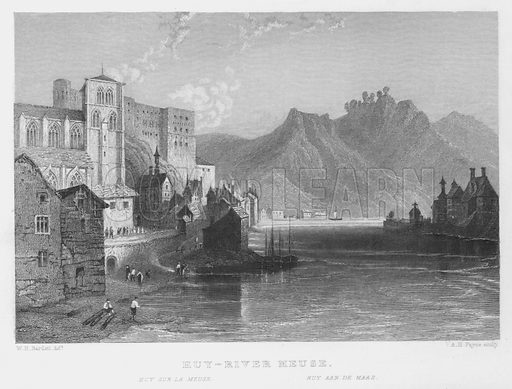 Huy, River Meuse. Illustration for The History and Topography of Holland and Belgium illustrated with engravings by W H Bartlett (George Virtue, c 1840).