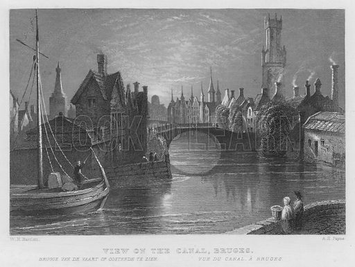 View on the Canal, Bruges. Illustration for The History and Topography of Holland and Belgium illustrated with engravings by WH Bartlett (George Virtue, c 1840).
