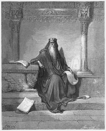Solomon. Illustration for The Holy Bible with illustrations by Gustave Dore (Cassell, c 1880).  Early edition in perfect condition.  Image scanned at high resolution and then digitally cleaned to facilitate repro at large size, if required.