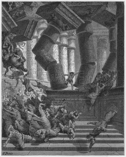 Death of Samson. Illustration for The Holy Bible with illustrations by Gustave Dore (Cassell, c 1880). Early edition in perfect condition. Image scanned at high resolution and then digitally cleaned to facilitate repro at large size, if required.