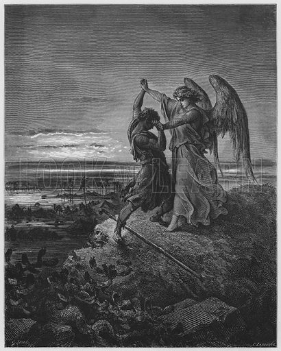 Jacob wrestling with the Angel. Illustration for The Holy Bible with illustrations by Gustave Dore (Cassell, c 1880). Early edition in perfect condition. Image scanned at high resolution and then digitally cleaned to facilitate repro at large size, if required.