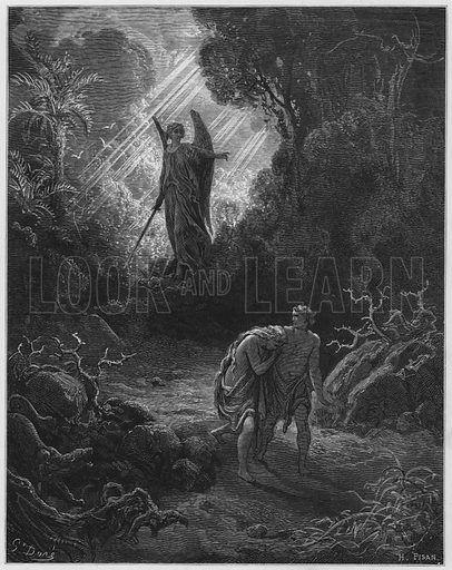 Adam and Eve driven out of Eden. Illustration for The Holy Bible with illustrations by Gustave Dore (Cassell, c 1880). Early edition in perfect condition. Image scanned at high resolution and then digitally cleaned to facilitate repro at large size, if required.