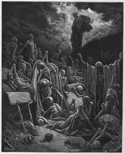The vision of the valley of dry bones. Illustration for The Holy Bible with illustrations by Gustave Dore (Cassell, c 1880). Early edition in perfect condition. Image scanned at high resolution and then digitally cleaned to facilitate repro at large size, if required.