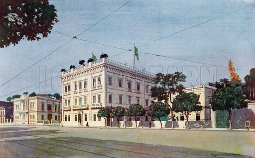 Cattete Palace, The Official Residence of the President of Brazil. Illustration for The Beautiful Rio De Janeiro by Allured Gray Bell (William Heinemann, c 1914).