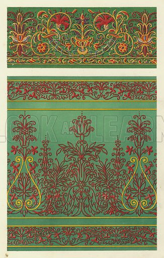 Italian Cinque-cento Embroidered Silks. Illustration for The Treasury of Ornamental Art, Illustrations of objects of Art and Vertu, photographed from the originals and drawn on stone by F Bedford (Day & Son, c 1857).