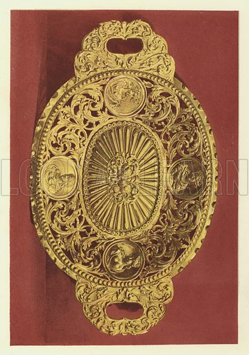 Silver-gilt Salver, Dutch or Flemish, Seventeenth-Century Work. Illustration for The Treasury of Ornamental Art, Illustrations of objects of Art and Vertu, photographed from the originals and drawn on stone by F Bedford (Day & Son, c 1857).