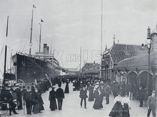 """SS""""Celtic"""" at Landing Stage, Liverpool. Illustration for souvenir brochure for the 24th Annual Conference of the Postal Telegraph Clerks Association in Liverpool, April 1904."""