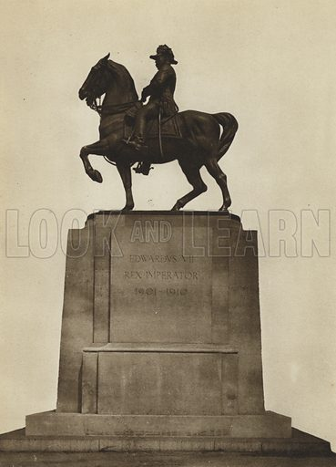 Edward VII, Waterloo Place. Illustration for Forty London Statues and Public Monuments by Tancred Borenius with special photographs by E O Hoppe (Methuen, 1926).