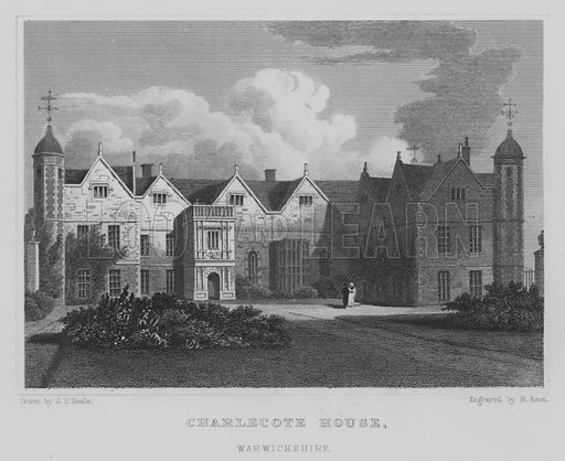Charlecote House, Warwickshire. Illustration for Jones' Views of the Seats, Mansions, Castles, etc of Noblemen and Gentlemen of England, Wales, Scotland and Ireland (Jones, 1829).