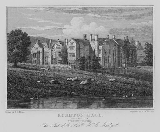 Rushton Hall, South West View, Northamptonshire, The Seat of the Honourable Mrs C Medlycott. Illustration for Jones' Views of the Seats, Mansions, Castles, etc of Noblemen and Gentlemen of England, Wales, Scotland and Ireland (Jones, 1829).