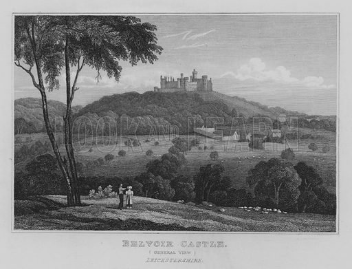 Belvoir Castle, General View, Leicestershire. Illustration for Jones' Views of the Seats, Mansions, Castles, etc of Noblemen and Gentlemen of England, Wales, Scotland and Ireland (Jones, 1829).