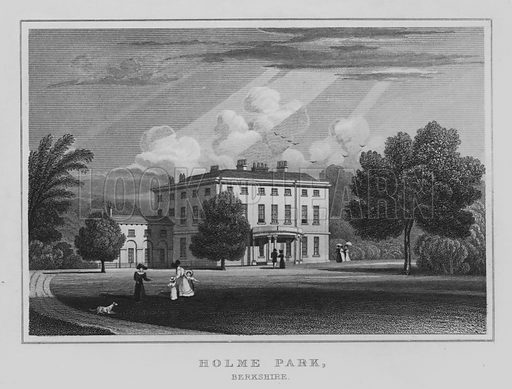 Holme Park, Berkshire. Illustration for Jones' Views of the Seats, Mansions, Castles, etc of Noblemen and Gentlemen of England, Wales, Scotland and Ireland (Jones, 1829).