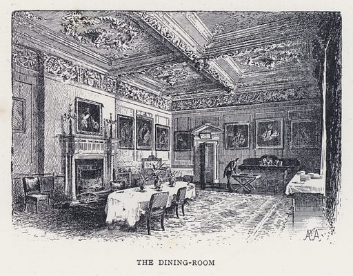 The Dining-Room. Illustration for Episcopal Palaces of England by Edmund Venables illustrated by Alexander Ansted (Isbister, 1895).