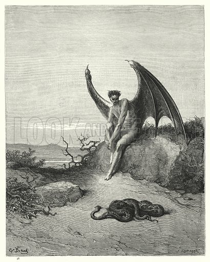 Book IX, lines 182, 183. Illustration for Milton's Paradise Lost Illustrated by Gustave Dore (Cassell Petter and Galpin, c 1880). Scan at high resolution which has been digitally cleaned to facilitate repro at large size, if required.