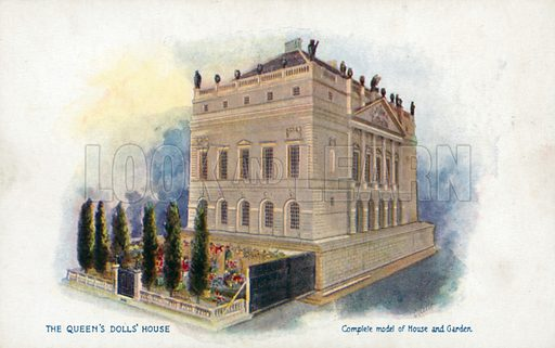 Complete Model of House and Garden. One of a series of postcards illustrating aspects on The Queen's Dolls' House, published by Raphael Tuck, 1920s. Queen Mary's Dolls' House is a doll's house built in the early 1920s, completed in 1924, for Queen Mary, the wife of King George V. It is kept at Windsor Castle.