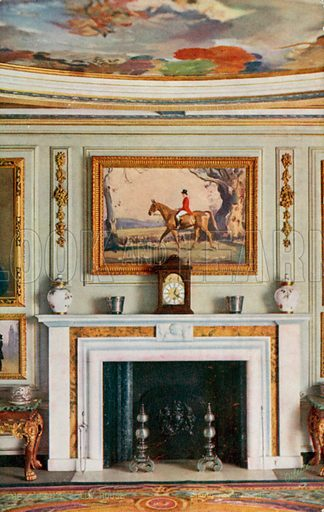 Dining Room Fireplace. One of a series of postcards illustrating aspects on The Queen's Dolls' House, published by Raphael Tuck, 1920s. Queen Mary's Dolls' House is a doll's house built in the early 1920s, completed in 1924, for Queen Mary, the wife of King George V. It is kept at Windsor Castle.