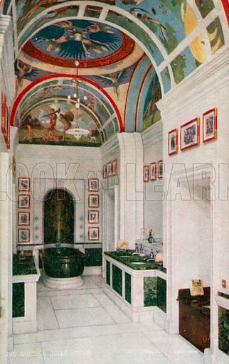 The King's Bathroom. One of a series of postcards illustrating aspects on The Queen's Dolls' House, published by Raphael Tuck, 1920s. Queen Mary's Dolls' House is a doll's house built in the early 1920s, completed in 1924, for Queen Mary, the wife of King George V. It is kept at Windsor Castle.