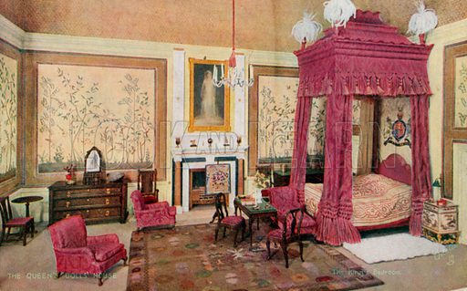 The King's Bedroom. One of a series of postcards illustrating aspects on The Queen's Dolls' House, published by Raphael Tuck, 1920s. Queen Mary's Dolls' House is a doll's house built in the early 1920s, completed in 1924, for Queen Mary, the wife of King George V. It is kept at Windsor Castle.