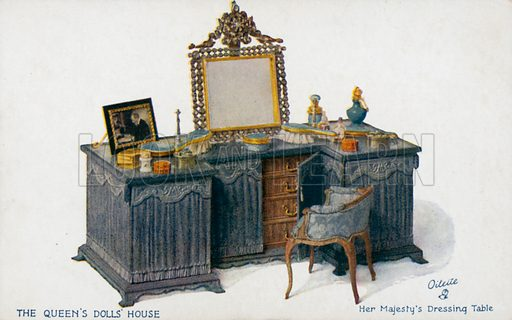Her Majesty's Dressing Table. One of a series of postcards illustrating aspects on The Queen's Dolls' House, published by Raphael Tuck, 1920s. Queen Mary's Dolls' House is a doll's house built in the early 1920s, completed in 1924, for Queen Mary, the wife of King George V. It is kept at Windsor Castle.