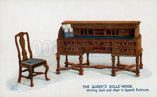 Writing Desk and Chair in Queen's Bedroom. One of a series of postcards illustrating aspects on The Queen's Dolls' House, published by Raphael Tuck, 1920s. Queen Mary's Dolls' House is a doll's house built in the early 1920s, completed in 1924, for Queen Mary, the wife of King George V. It is kept at Windsor Castle.