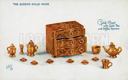 Gold Chest with Gold Tea and Coffee Service. One of a series of postcards illustrating aspects on The Queen's Dolls' House, published by Raphael Tuck, 1920s. Queen Mary's Dolls' House is a doll's house built in the early 1920s, completed in 1924, for Queen Mary, the wife of King George V. It is kept at Windsor Castle.