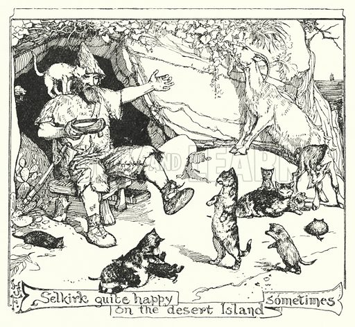Selkirk quite happy on the desert Island sometimes. Illustration for The All Sorts of Stories Book by Mrs Lang edited by Andrew Lang (Longmans, Green, 1911).