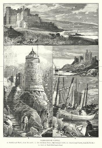 Bamborough Castle. Illustration for The Hour Glass magazine, 1887.