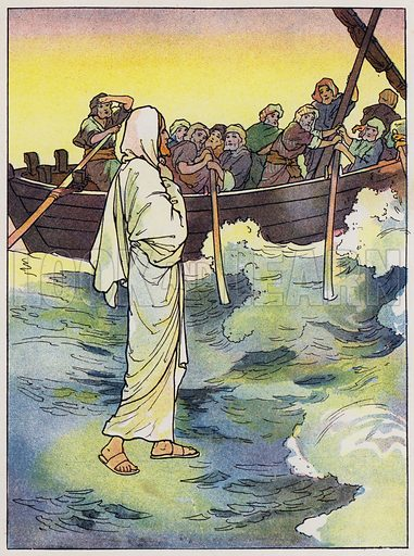 Jesus walks upon the sea
