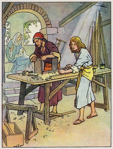Jesus in the carpenter's shop
