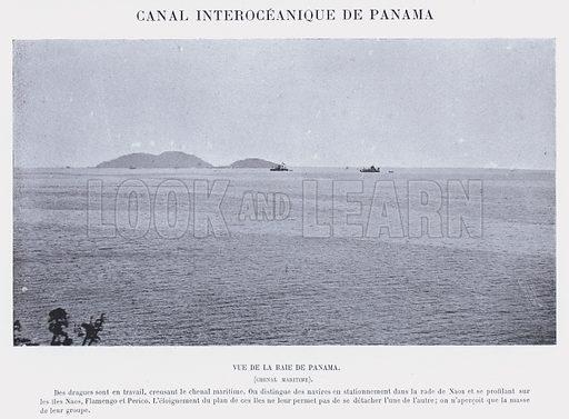 Canal Interoceanique De Panama. Vue De La Baie De Panama, Chenal Maritime. Illustration for Panama, Le Passe, Le Present, L'Avenir by P Bunau-Varilla (G Masson, 1892).
