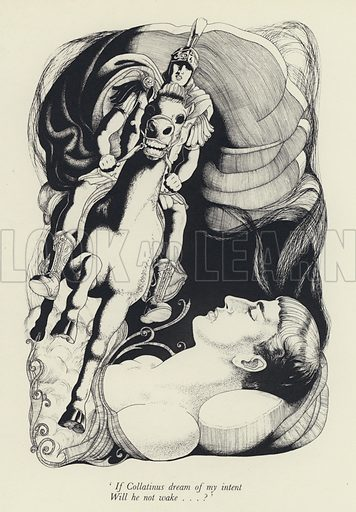 'If Collatinus dream of my intent / Will he not wake . . . ?' Illustration for The Rape of Lucrece by William Shakespeare (Winchester Publications, c 1948).