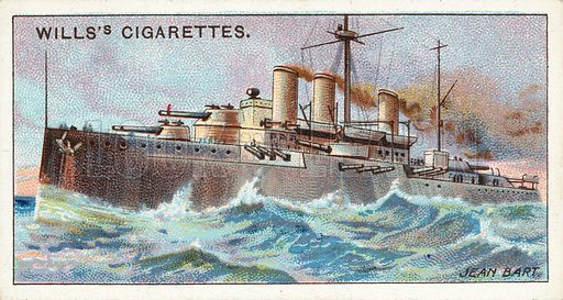 """French Battleship, """"Jean Bart."""" Illustration for one of a series of cigarette cards on the theme of The World's Dreadnoughts published by Wills's Cigarettes, early 20th century.  Pictorial evidence of the pre-WW1 European naval arms race."""