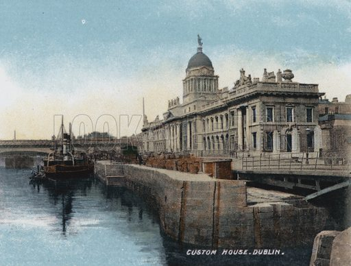 Custom House, Dublin. Illustration for Album of Coloured Photographic Views of Dublin (William Lawrence, c 1905). Published by William Lawrence, Photographer, Dublin. Photos appear to date from late 19th century, although colouring probably dates to 1905.