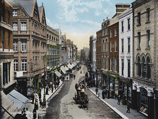 Grafton Street, Dublin. Illustration for Album of Coloured Photographic Views of Dublin (William Lawrence, c 1905). Published by William Lawrence, Photographer, Dublin. Photos appear to date from late 19th century, although colouring probably dates to 1905.