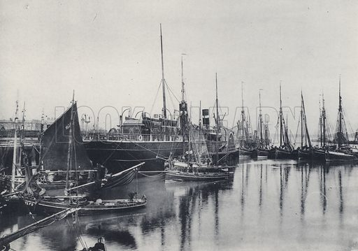 The Harbour. Fleetwood: Illustration for souvenir booklet on Fleetwood (G B Woods, c 1895).