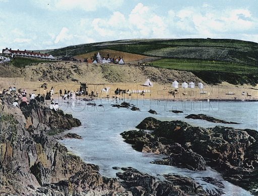 Woolacombe, Near Ilfracombe. Illustration for Album of Coloured Photographic Views of Ilfracombe (Twiss, c 1905).  Images appear to be 19th century photographs with early 20th century colouring.