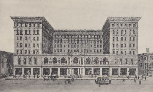 The St Charles Hotel. Illustration for booklet entitled New Orleans (A Wittemann, c 1896).  Gravure-printed.