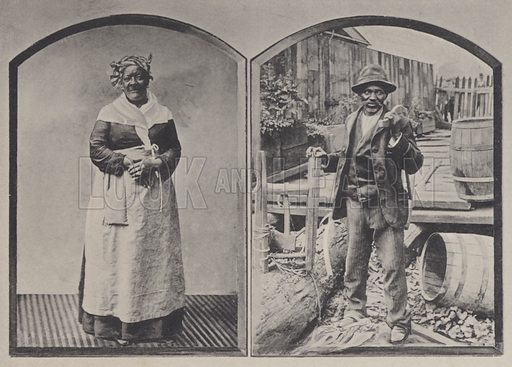 A Creole Nurse, A Negro Wood Sawyer. Illustration for booklet entitled New Orleans (A Wittemann, c 1896).  Gravure-printed.