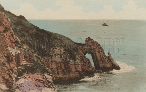 Natural Arch, Torquay. Illustration for souvenir booklet entitled Gems of Torquay A Collection of Sepia Photographs Hand-Coloured (np, c 1910).