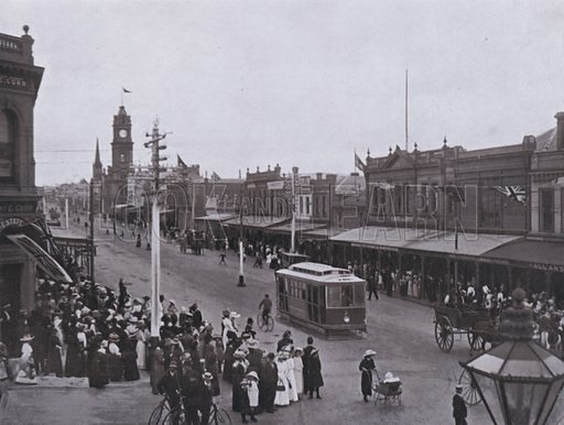 Ryrie Street, Geelong. Illustration for Souvenir of Victoria and its Metropolis and the Leading Inland Cities (Osboldstone, c 1910).
