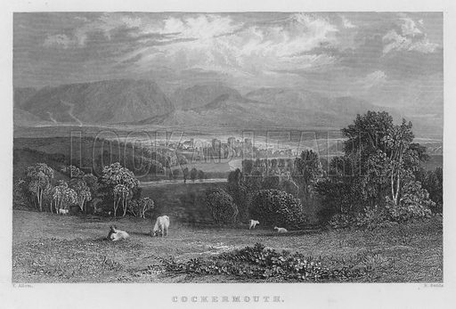 Cockermouth. Illustration for Westmorland, Cumberland, Durham and Northumberland Illustrated (Fisher, 1833).