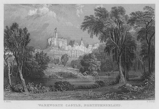 Warkworth Castle, Northumberland. Illustration for Westmorland, Cumberland, Durham and Northumberland Illustrated (Fisher, 1833).
