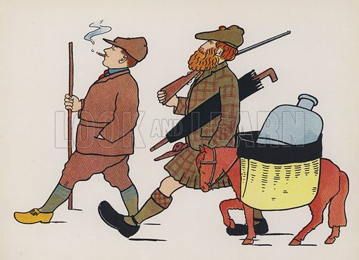 Stalking in Scotland. Illustration for Wonderful England! or, The Happy Land! by Mrs Ernest Ames (Grant Richards, c 1902).