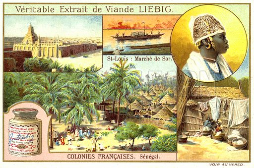 Senegal. Liebig card, early 20th century, from a series on French overseas colonies.