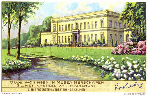Chateau de Mariemont, Belgium. Liebig card, early 20th century, from a series on buildings in Belgium converted into museums.