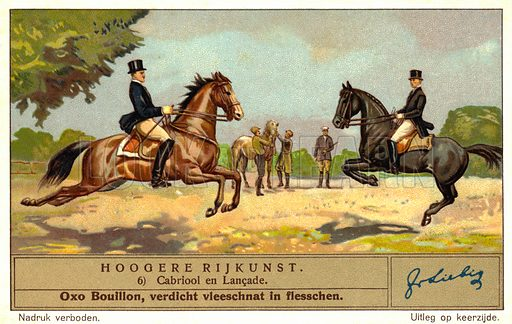 Dressage riders performing the capriole and the lancade. Liebig card, early 20th century, from a series on higher level dressage movements.